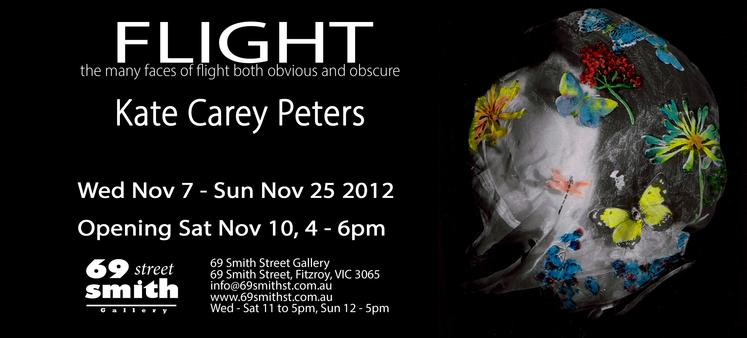 My first solo exhibition – Flight at 69 Smith st Gallery Fitzroy  November 7-25