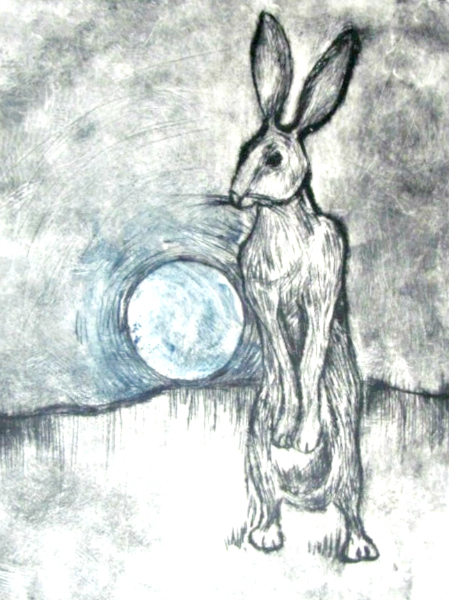March Hare with blue moon